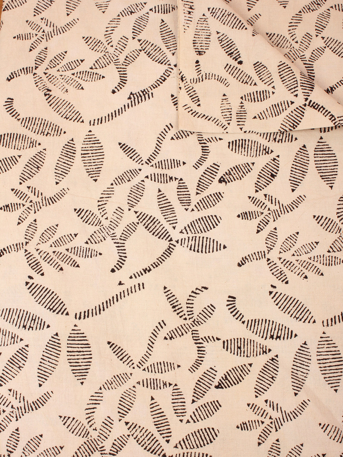 Ivory Black Natural Dyed Hand Block Printed Cotton Fabric Per Meter - F0916241
