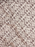 Beige Brown Natural Dyed Hand Block Printed Cotton Fabric Per Meter - F0916242