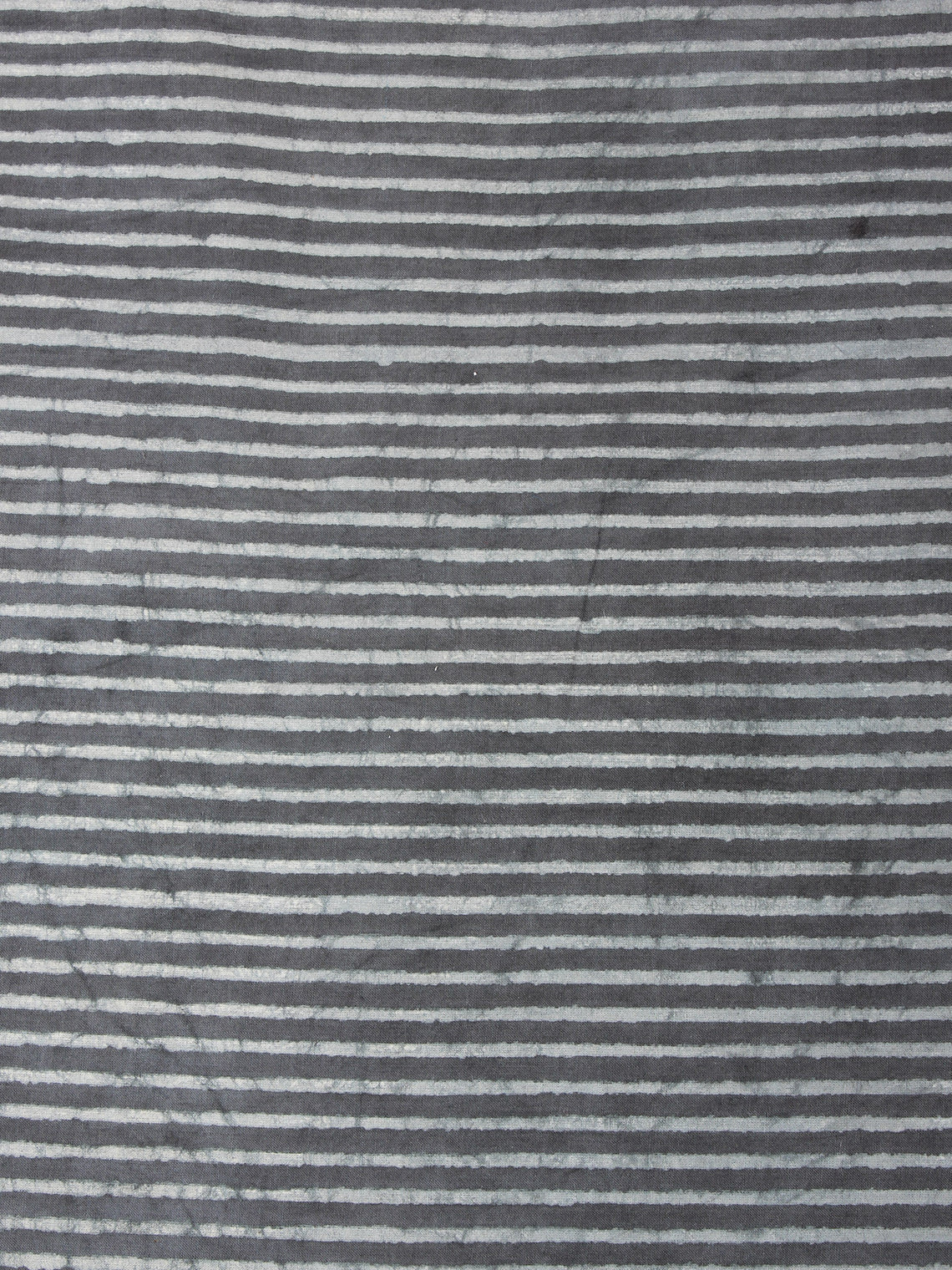 Grey Natural Dyed Hand Block Printed Cotton Fabric Per Meter - F0916250