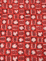 Red Beige Natural Dyed Hand Block Printed Cotton Fabric Per Meter - F0916257