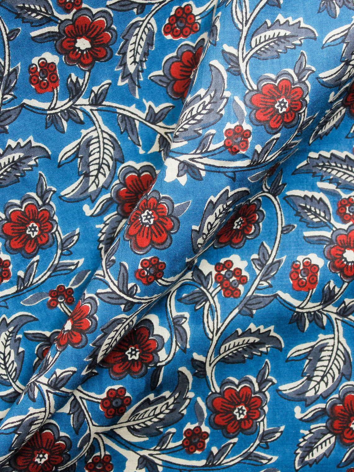 Blue White Red Grey Hand Block Printed Cotton Fabric Per Meter - F001F1482