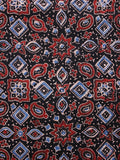 Black Red Blue Ivory Ajrakh Hand Block Printed Cotton Fabric Per Meter - F003F1580