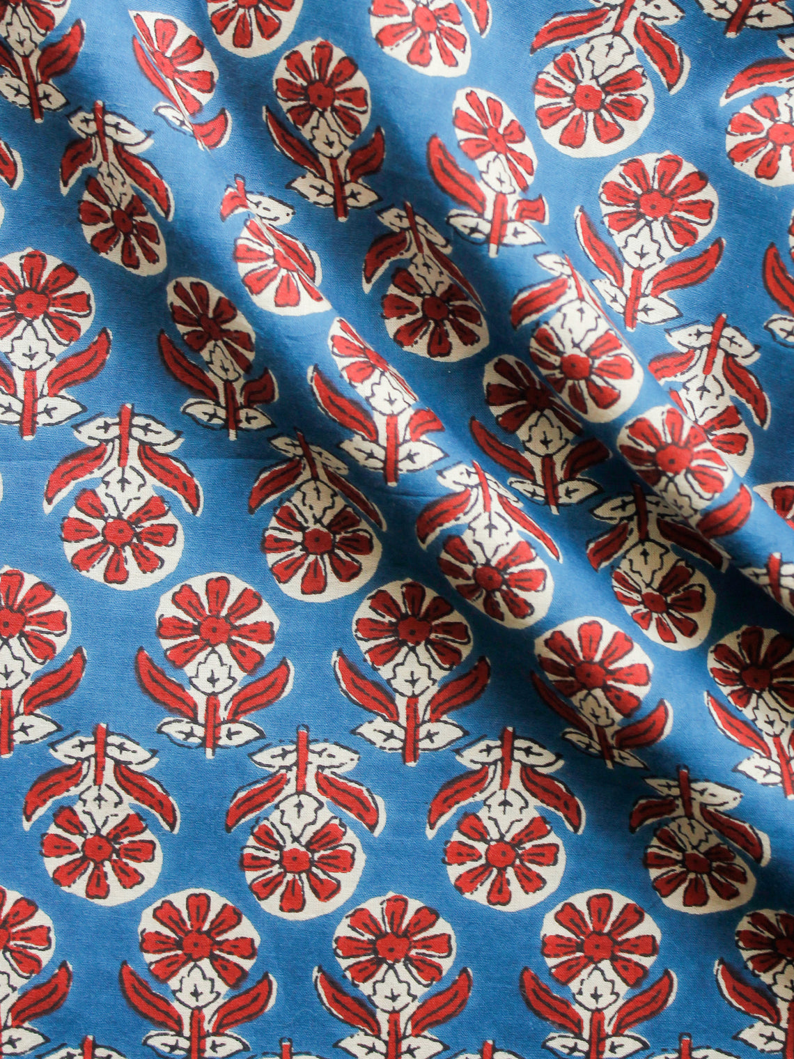 Blue Red Ivory Hand Block Printed Cotton Fabric Per Meter - F001F1485