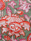 Green Pink Red White Hand Block Printed Cotton Fabric Per Meter - F001F1505