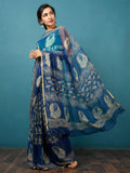 Indigo Lime Green Hand Block Printed Chiffon Saree with Zari Border - S031702815