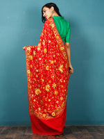 Red Yellow Green Aari Embroidered Crepe Silk Saree From Kashmir  - S031703069