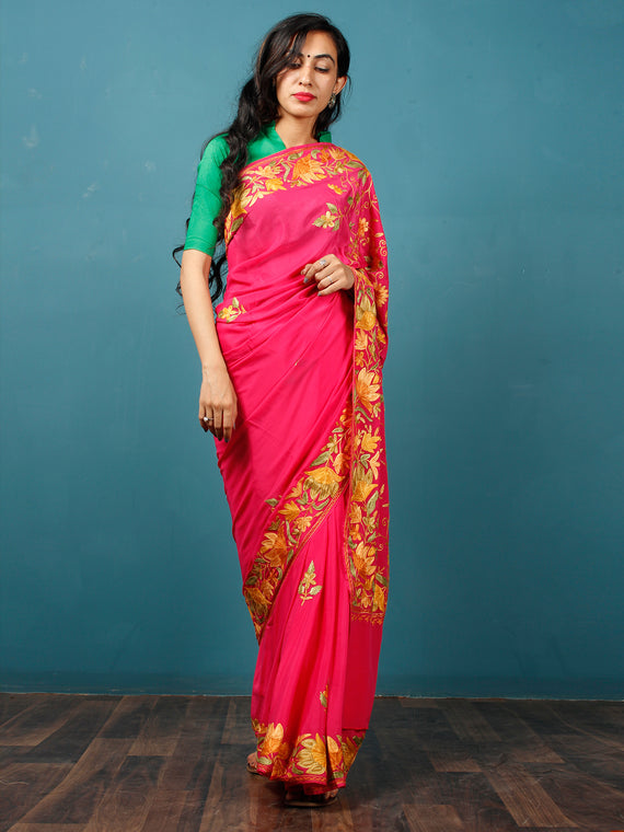 Red Yellow Green Aari Embroidered Bhagalpuri Silk Saree From Kashmir  - S031703070