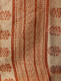 Beige Black Rust Hand Block Printed Kota Doria Saree in Natural Colors - S031702825