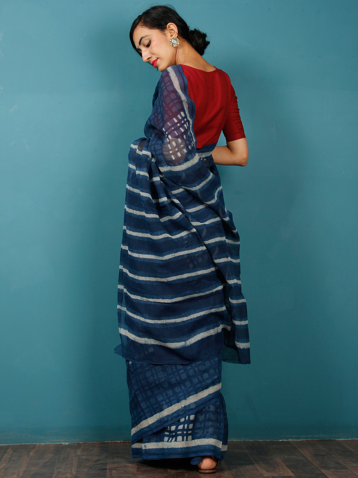 Indigo Ivory Hand Block Printed Kota Doria Saree in Natural Colors - S031702826