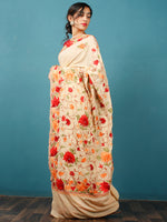 Off White Red Maroon Green Aari Embroidered Crepe Silk Saree From Kashmir - S031703071