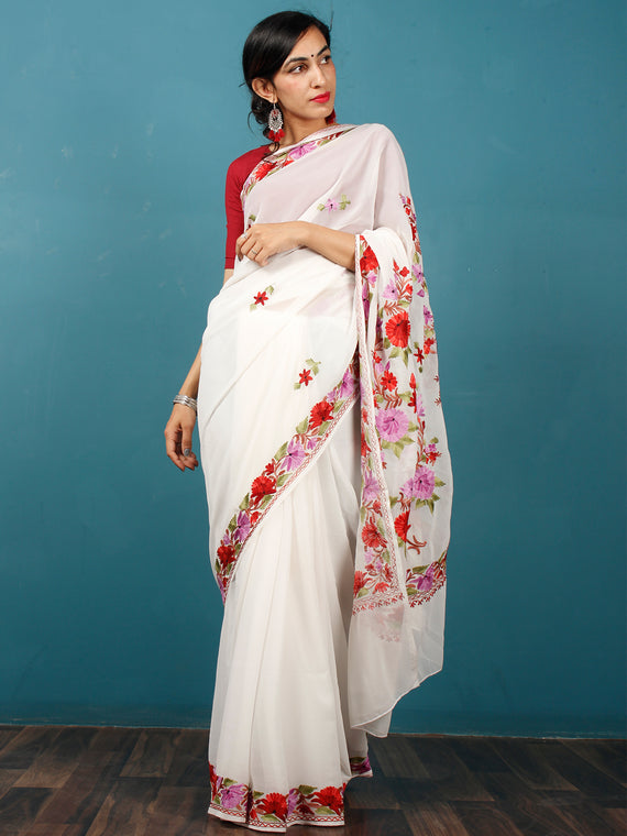 White Purple Red Maroon Green Aari Embroidered Georgette Saree From Kashmir - S031703072