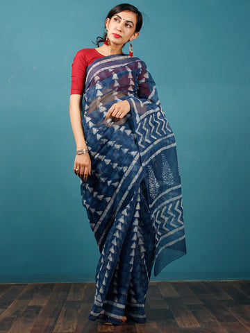 Indigo Ivory Hand Block Printed Kota Doria Saree in Natural Colors - S031702827