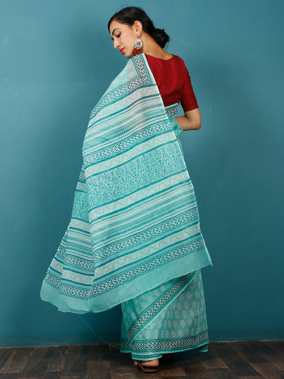 Sea Green Ivory Hand Block Printed Kota Doria Saree in Natural Colors - S031702828