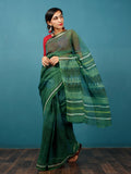Green Ivory Lime Hand Block Printed Kota Doria Saree in Natural Colors - S031702829