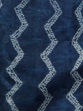 Indigo Ivory Hand Shibori Dyed Kota Doria Saree in Natural Colors - S031702830
