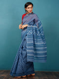 Indigo Ivory Hand Block Printed Kota Doria Saree in Natural Colors - S031702832