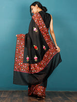 Black Lavender Green Orange Aari Embroidered Bhagalpuri Silk Saree From Kashmir - S031703076
