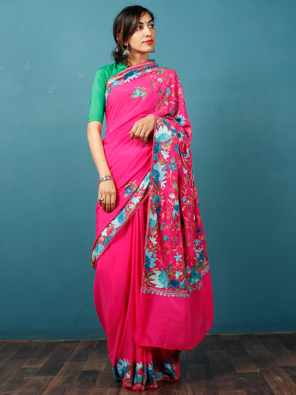 Pink Blue Green Aari Embroidered Crepe Silk Saree From Kashmir - S031703077