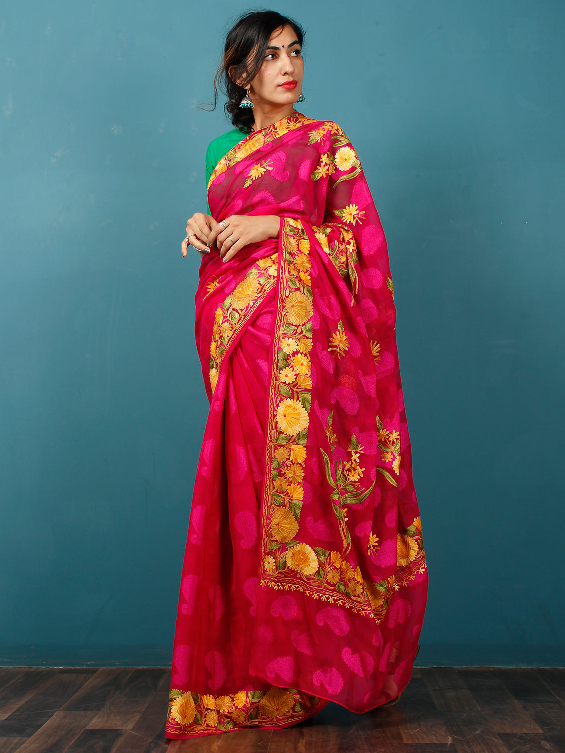 Maroon Yellow Green Aari Embroidered Chiffon Saree With Paisley Self From Kashmir - S031703078