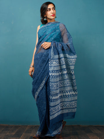 Indigo Ivory Hand Block Printed Kota Doria Saree in Natural Colors - S031702833