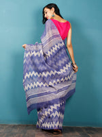 Purple Ivory Hand Block Printed Kota Doria Saree in Natural Colors - S031702835