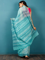 Sea Green Ivory Hand Block Printed Kota Doria Saree in Natural Colors - S031702837