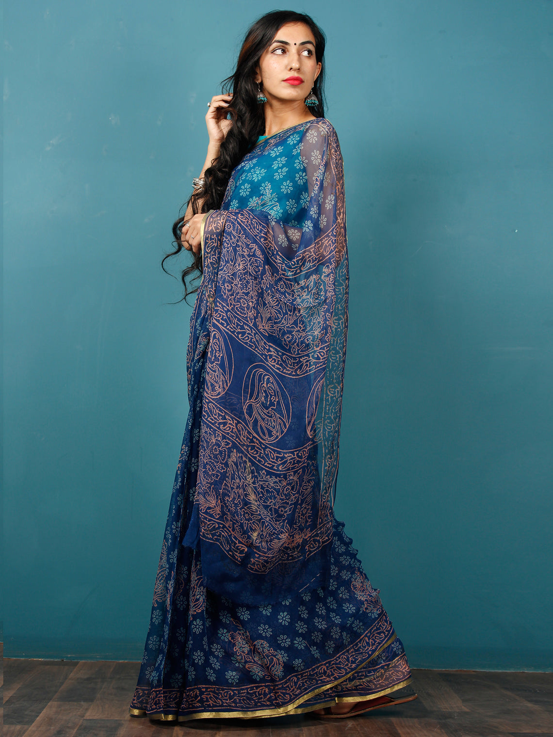 Indigo Sky Blue Coral Hand Block Printed Chiffon Saree with Zari Border - S031702818