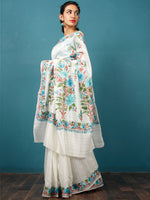 White Green Blue Rust Aari Embroidered Bhagalpuri Silk Saree From Kashmir  - S031703067
