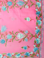 Pink Green Blue Brown Aari Embroidered Georgette Saree From Kashmir  - S031703068