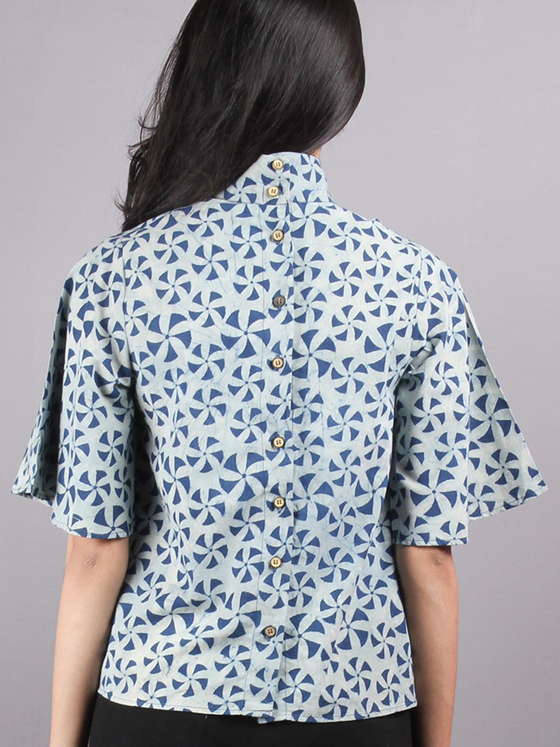 Indigo High Neck Hand Block Printed Cotton Flared Sleeves Back Buttons Top - T1137003