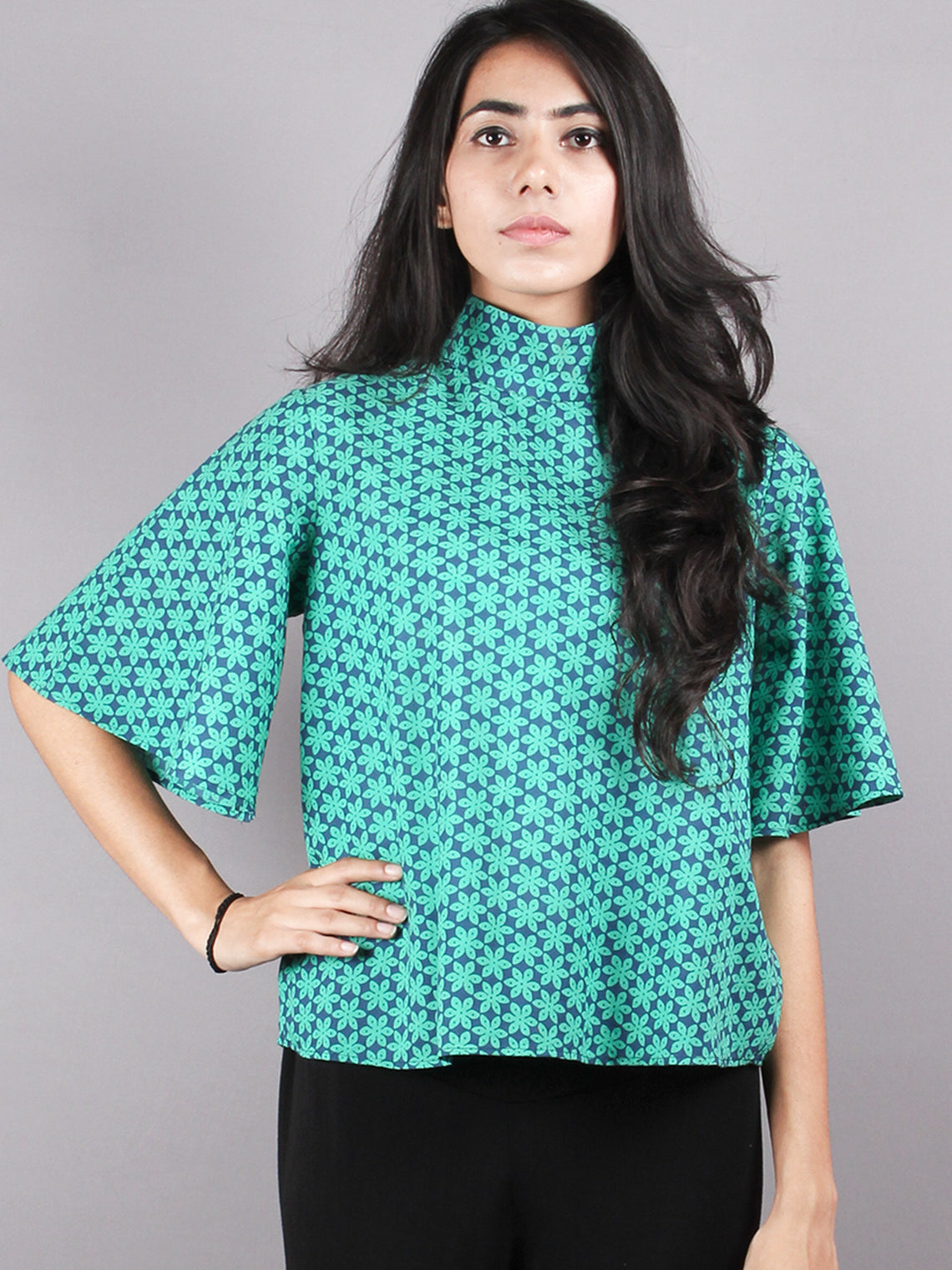 Green Blue High Neck Hand Block Printed Cotton Flared Sleeves Back Buttons Top - T1039011