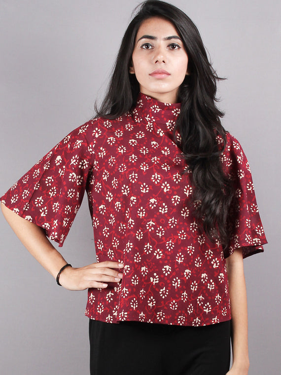 Red Beige High Neck Hand Block Printed Cotton Flared Sleeves Back Buttons Top - T1066012