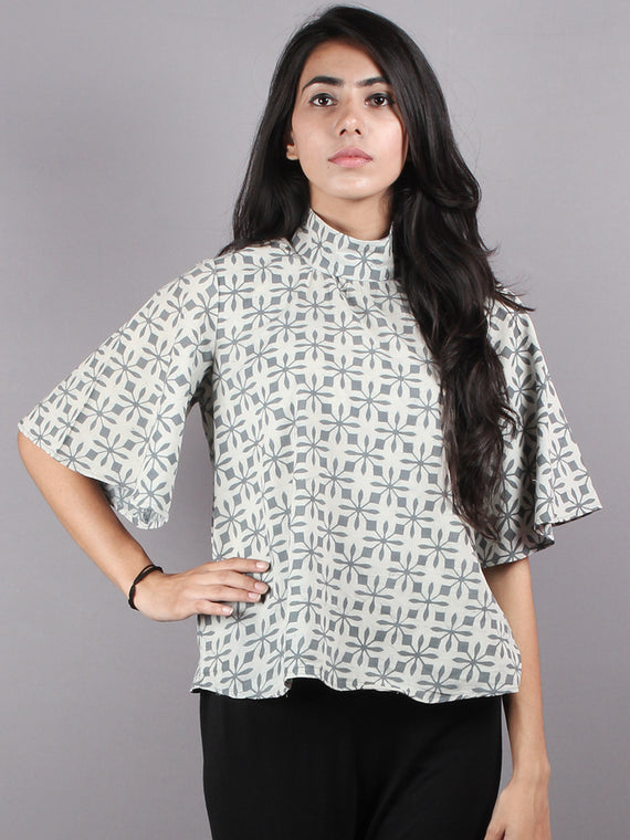 Grey White High Neck Hand Block Printed Cotton Flared Sleeves Back Buttons Top - T1074013