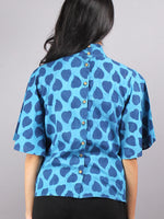 Indigo High Neck Hand Block Printed Cotton Flared Sleeves Back Buttons Top - T1157004
