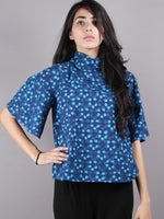 Indigo High Neck Hand Block Printed Cotton Flared Sleeves Back Buttons Top - T1086005