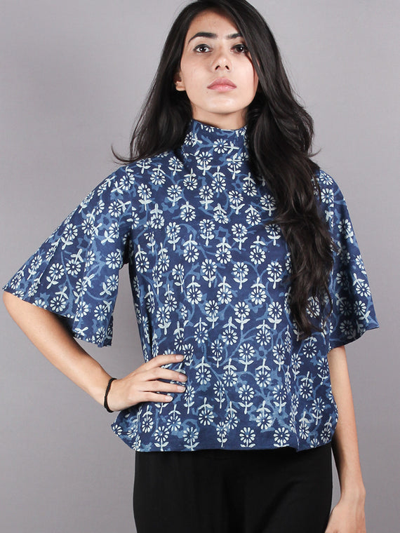 Indigo High Neck Hand Block Printed Cotton Flared Sleeves Back Buttons Top - T1004006