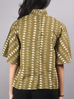 Olive Green Beige High Neck Hand Block Printed Cotton Flared Sleeves Back Buttons Top - T1141017