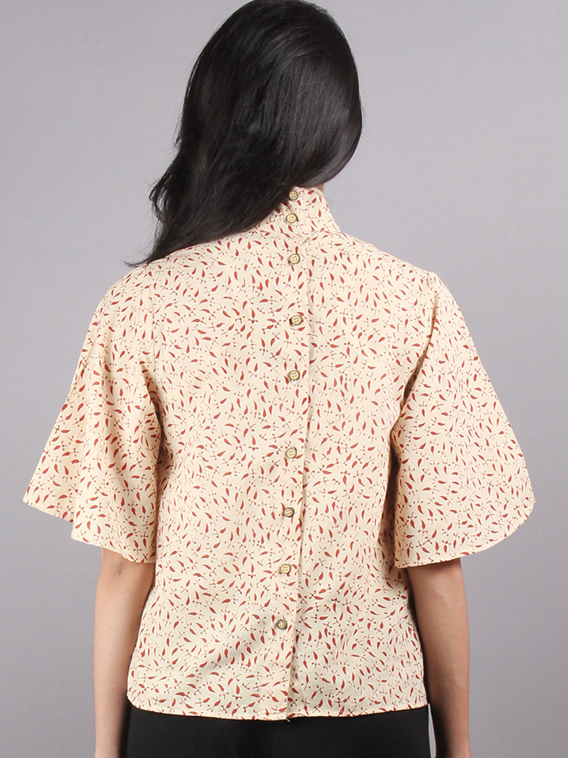 Beige Red High Neck Hand Block Printed Cotton Flared Sleeves Back Buttons Top - T1063001