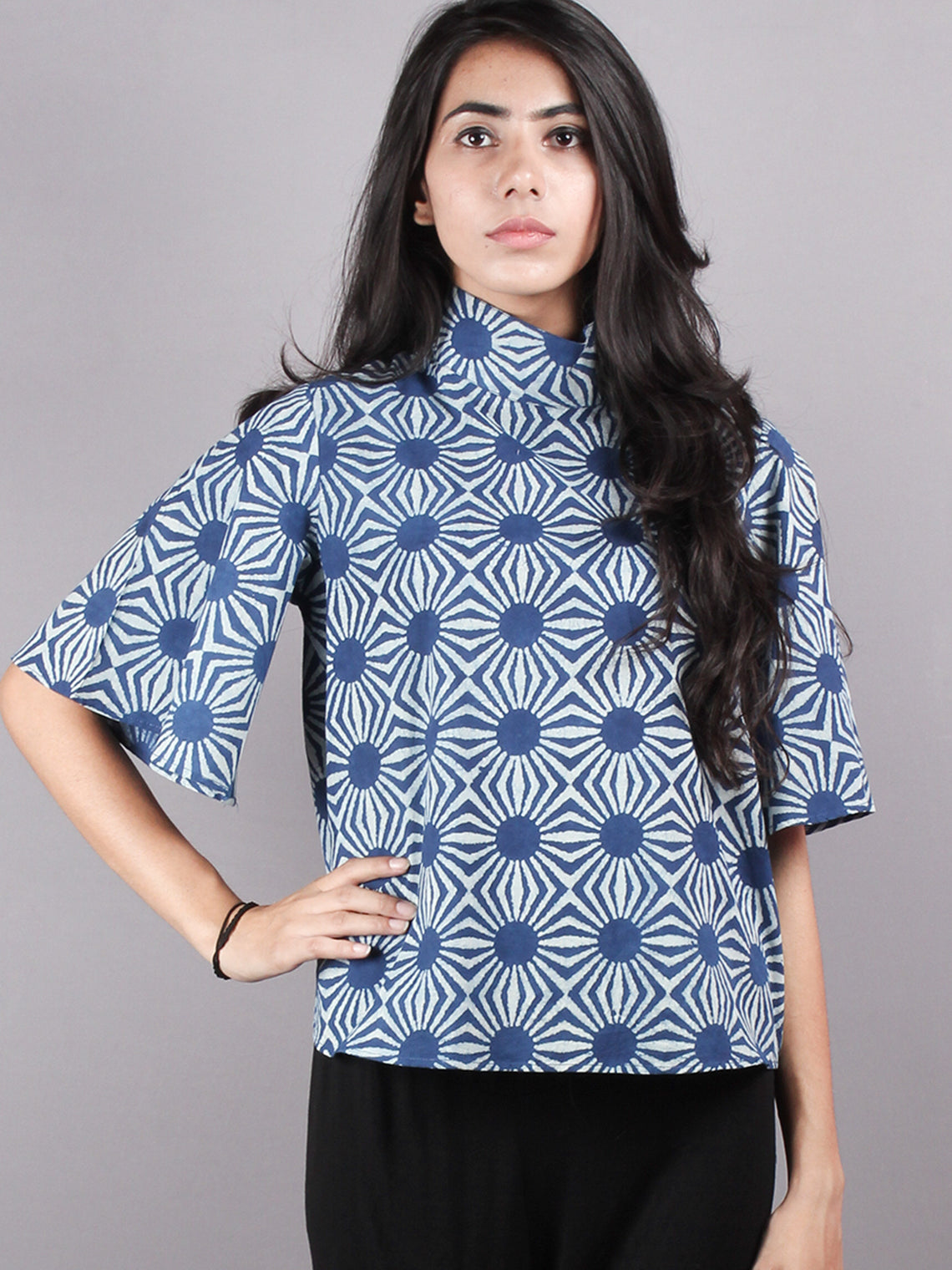 Indigo High Neck Hand Block Printed Cotton Flared Sleeves Back Buttons Top - T1080007