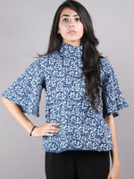 Indigo High Neck Hand Block Printed Cotton Flared Sleeves Back Buttons Top - T1008008