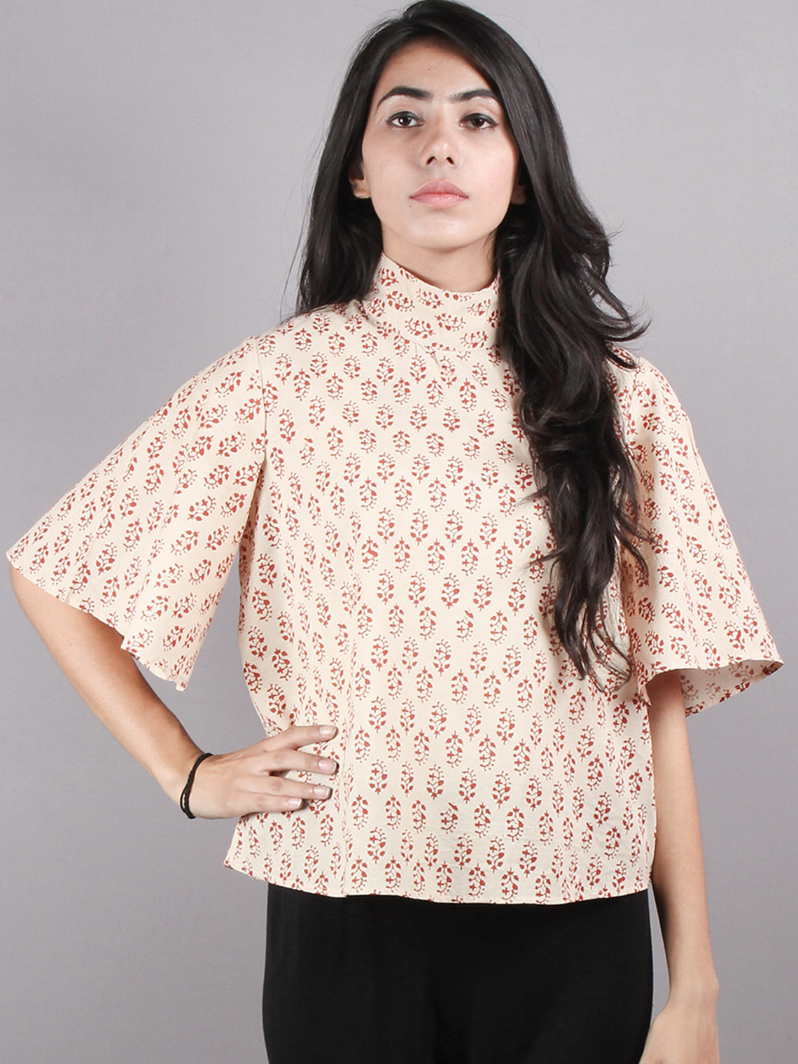 Beige Red High Neck Hand Block Printed Cotton Flared Sleeves Back Buttons Top - T1064014