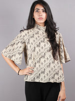 Beige Black High Neck Hand Block Printed Cotton Flared Sleeves Back Buttons Top - T1060015