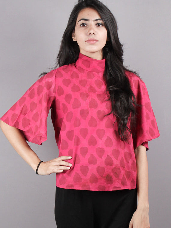 Pink Red High Neck Hand Block Printed Cotton Flared Sleeves Back Buttons Top - T1158016
