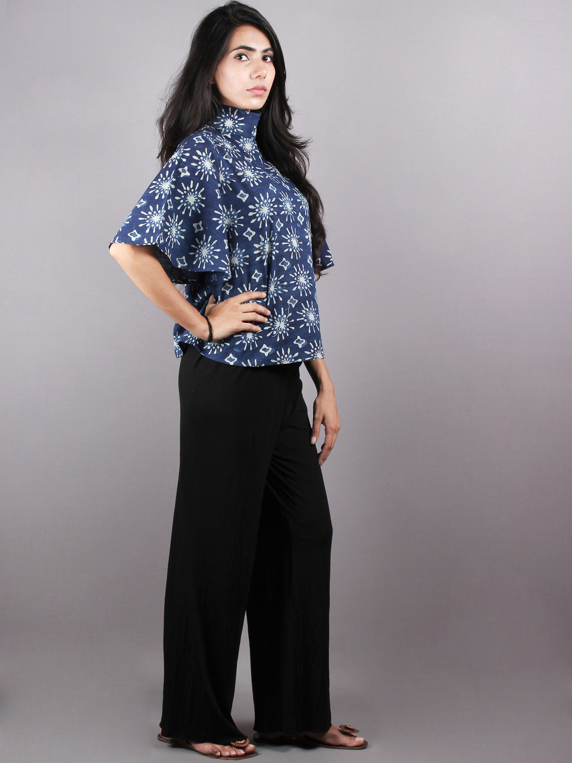 Indigo High Neck Hand Block Printed Cotton Flared Sleeves Back Buttons Top - T1026002