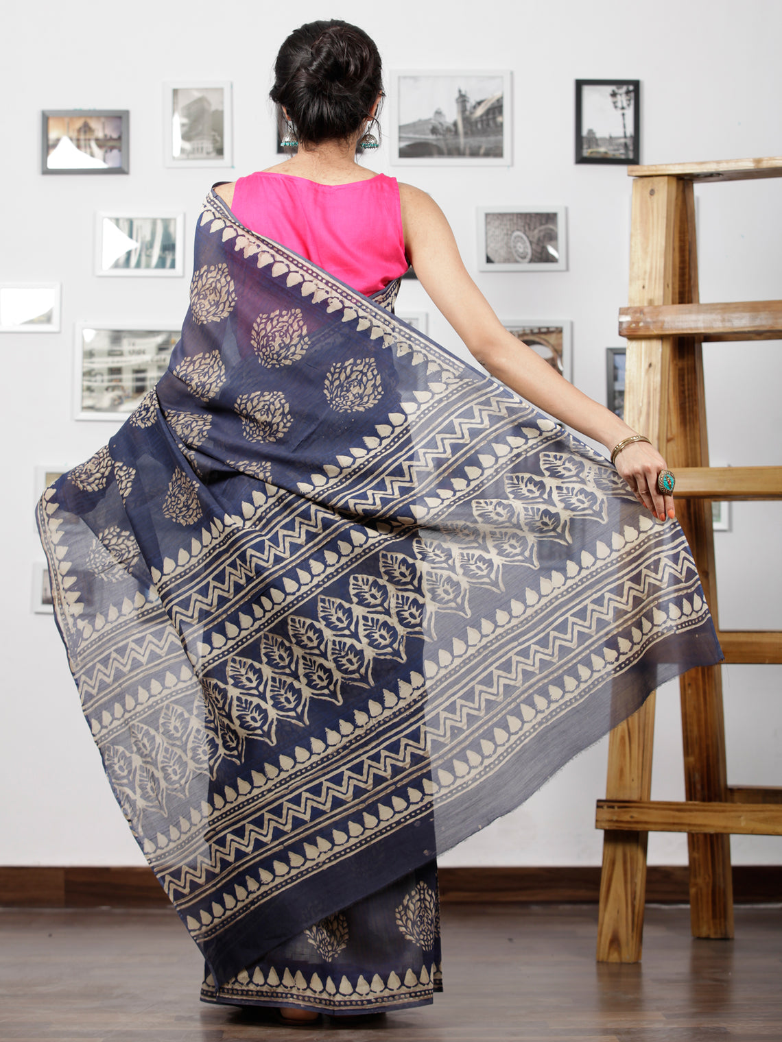 Indigo Ivory Chanderi Silk Hand Block Printed Saree With Geecha Border - S031702942