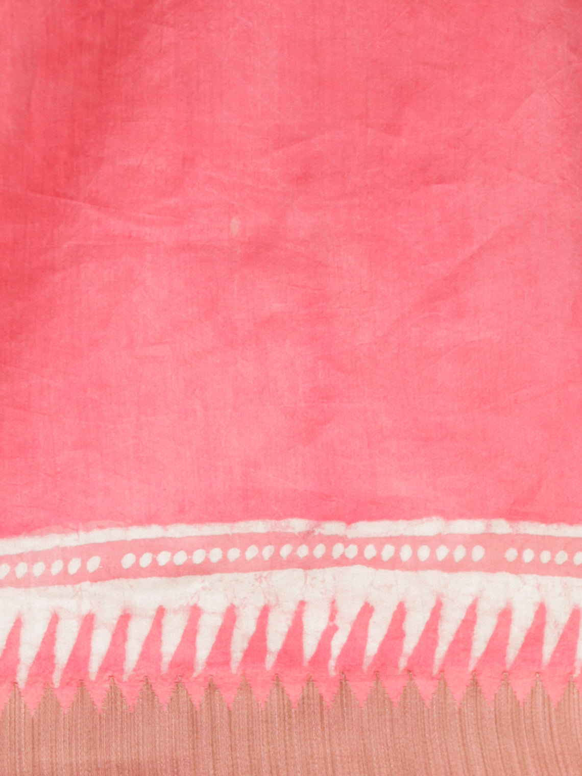 Punch Pink Ivory Chanderi Silk Hand Block Printed Saree With Geecha Border - S031702946