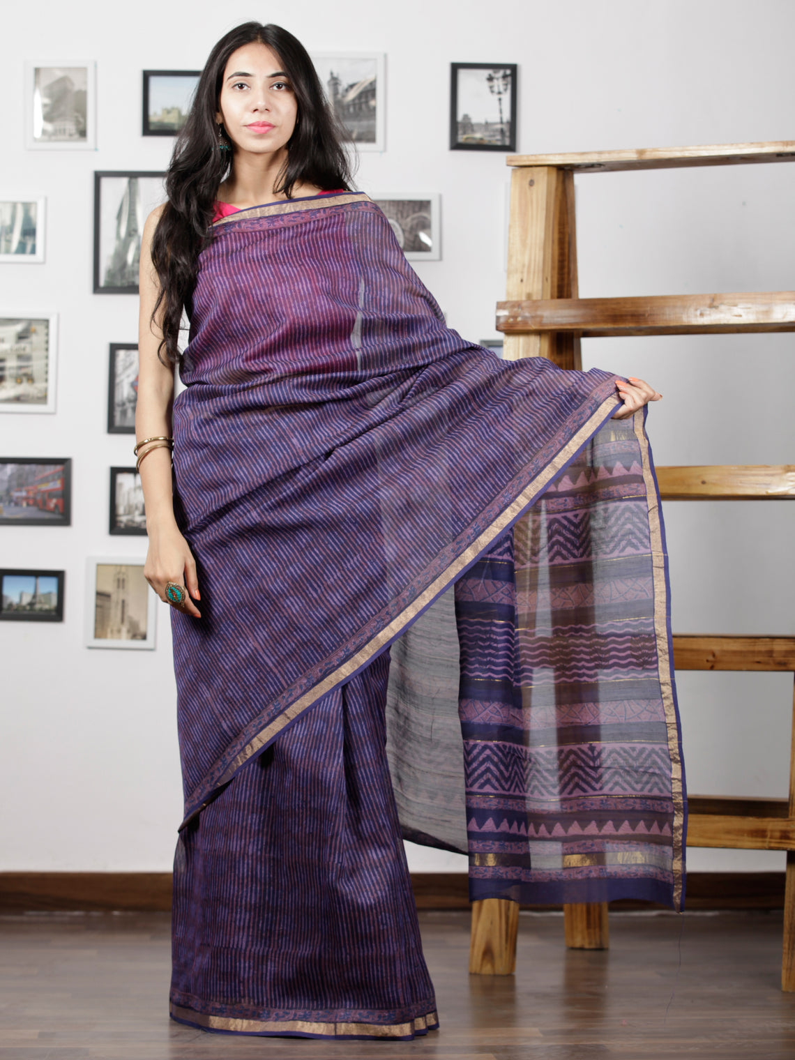 Purple Blue Maheshwari Silk Hand Block Printed Saree With Zari Border - S031702947