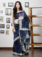 Indigo Hand Brushed Dabu Maheshwari  Silk Saree With Zari Border - S031702948