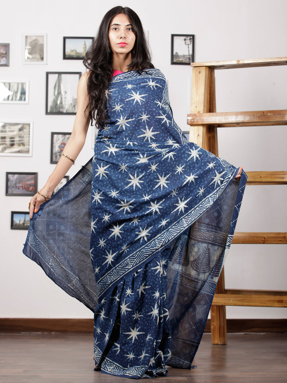 Indigo White Hand Block Printed Cotton Mul Saree - S031702955