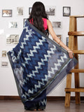 Indigo Ivory Black Chanderi Silk Hand Block Printed Saree With Geecha Border - S031702956